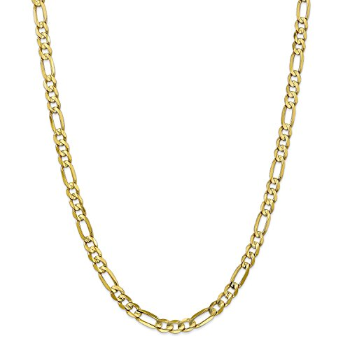 Roy Rose Jewelry 10K Yellow Gold 6mm Light Figaro Link Chain Bracelet ~ Length 7'' (7' Figaro Chain Bracelet)