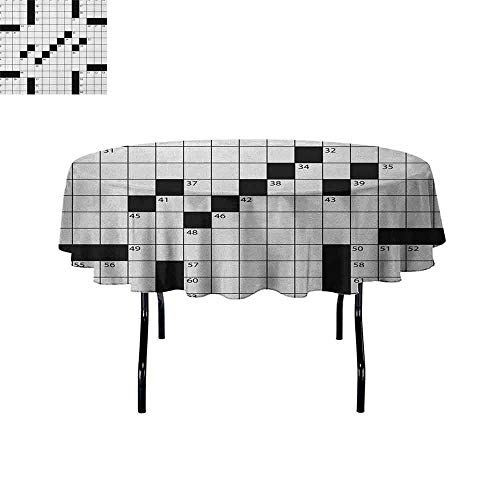 DouglasHill Word Search Puzzle Easy Care Leakproof and Durable Tablecloth Blank Newspaper Style Crossword Puzzle with Numbers in Word Grid Outdoor Picnic D35 Inch Black and White -