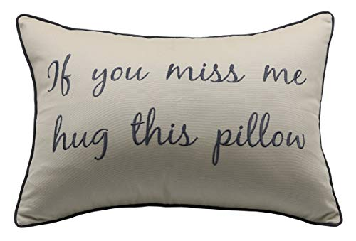 YugTex Pillowcases If You Miss me Hug This Pillow Embroiderd Throw Pillow Covers Long Distance Relationship Gift Pillow Case,Boyfriend Love Friendship Friend I Miss You Gift, 14