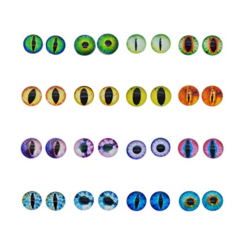 50PCS 6MM Round Glass Dragon Cat Eye Craft Cabochon Cameo for Jewelry Bezel Setting or Doll Eyes Crafts Making -