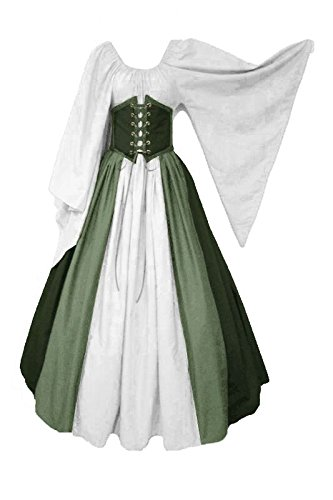 ValorSoul Renaissance Costumes Dress for Women Trumpet Sleeves Fancy Medieval Gothic Lace up Dress -