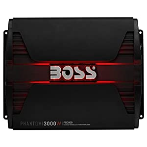 BOSS AUDIO PD3000 Phantom 3000-Watt, 1, 2, 4 Ohm Stable Class D Monoblock Car Amplifier with Remote Subwoofer Control