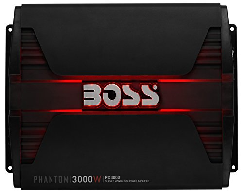 BOSS Audio Systems PD3000 Phantom 3000-Watt, 1, 2, 4 Ohm Stable Class D Monoblock Car Amplifier with Remote Subwoofer Control (3000 Watt Kicker)