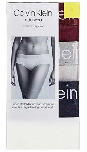 Calvin Klein Womens 3 Pack Logo Hipster Burgundy/Light Gray/Navy (Calvin Klein Hipster Lingerie)