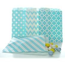 Blue Candy Bags (100 Pack) - Light Blue Boy Baby Shower Supplies, Wedding Party Favor Bags, Candy Buffet Treat Bags