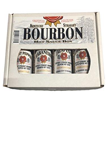 Kentucky Straight Bourbon Hot Sauce Gift Box 4 Pack (Bourbon Gift Baskets)