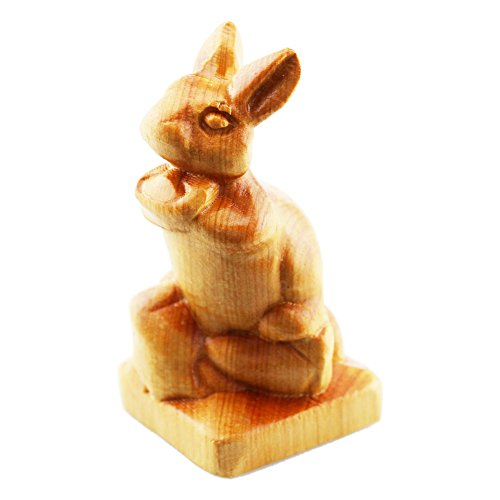 FOY-MALL Mini Hand Pieces Thuja Sutchuenensis Wood Carved Chinese Zodiac Statue Rabbit S1023