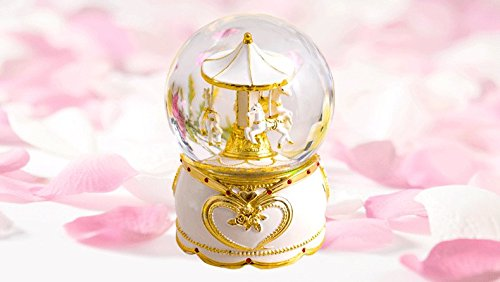 NON ROCK Carousel Horse Crystal Ball Christmas Musical Box Luxury Small Color Change Luminous Rotating by NON ROCK (Image #1)