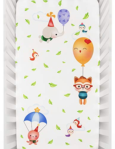 Rookie Humans 100% Cotton Sateen Fitted Crib Sheet: Balloon Party. Complements Modern Nursery Room, Use as a Photo Background for Your Baby Pictures. Standard Crib Size (52x28 inches).