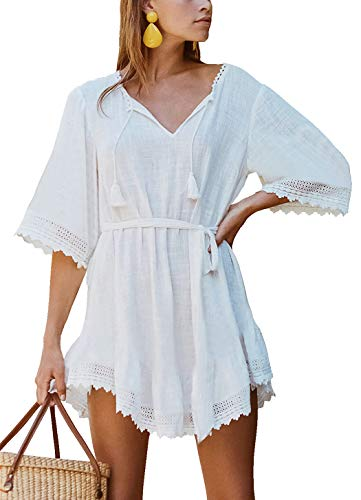 (FaroDor Womens Long Lace Cover Up Open Front Swimsuit Beach Kimono Cardigan)
