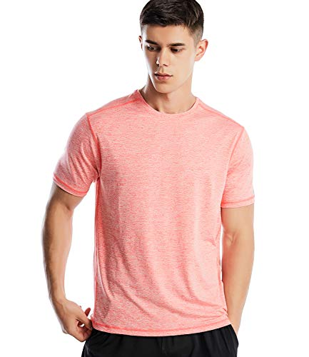 Men's Dri Fit Workout Short Sleeve T Shirt Athletic Performance Shirts for Men(21-Marled Coral, L)