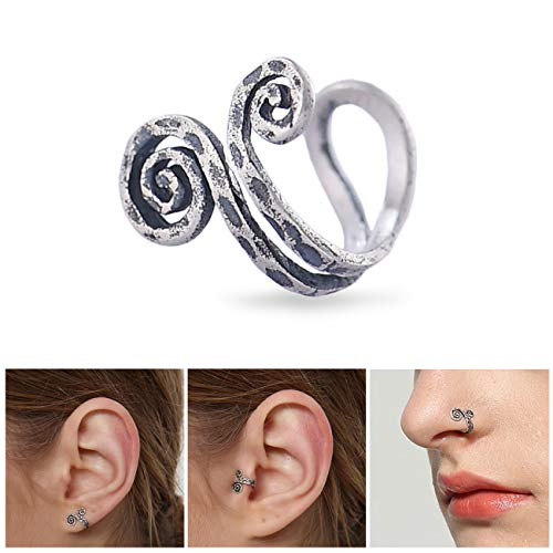 Aifeer Cool Handmade Single Nose Ring Ear Cuff Earring Clip Coiled S925 Sterling Silver 3 Ways to Wear