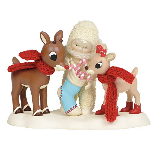 Department 56 Snowbabies Guest Collection Rudolph and Clarice Figurine, 4.5 Inch, Multicolor