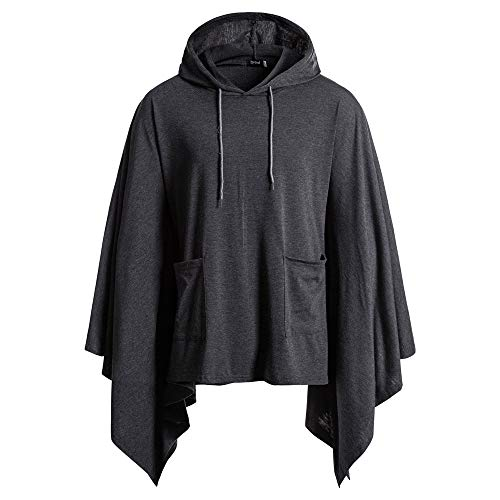 Realdo Men's Cloak, Mens Casual Daily Solid Bat Sleeves Hoodie Poncho Cape Coat with Pocket(X-Large,Dark Grey)