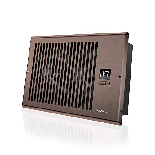 (AC Infinity AIRTAP T6, Quiet Register Booster Fan with Thermostat Control. Heating Cooling AC Vent. Fits 6
