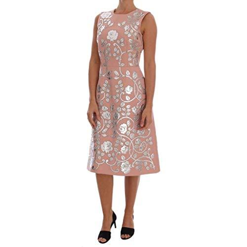 Gabbana Pink Dolce Dress - Dolce & Gabbana Pink Wool Silver Floral Leather Dress