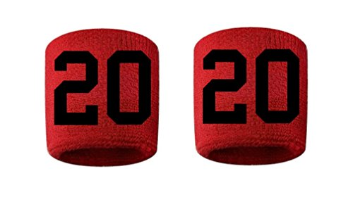 #20 Embroidered/Stitched Sweatband Wristband RED Sweat Band w/ BLACK Number (2 Pack)