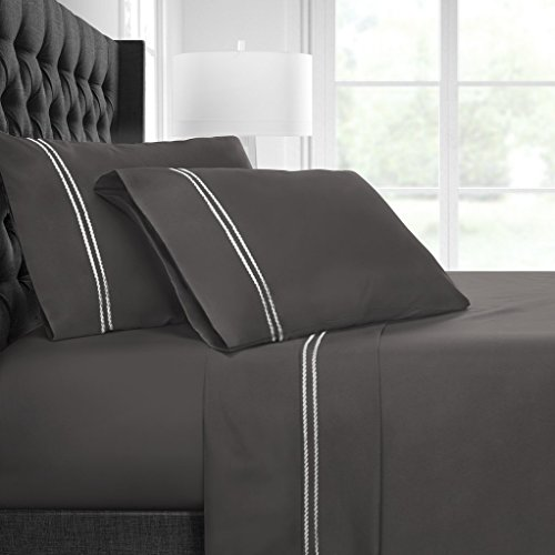Egyptian Luxury Embroidered Bed Sheet Set – Ultra Soft Premium 1500 Series w/Beautiful Rope Embroidery – Wrinkle & Fade Resistant, Hypoallergenic 4 Piece Set- Queen - Gray/Light Gray - Beds Mart Wal Twin