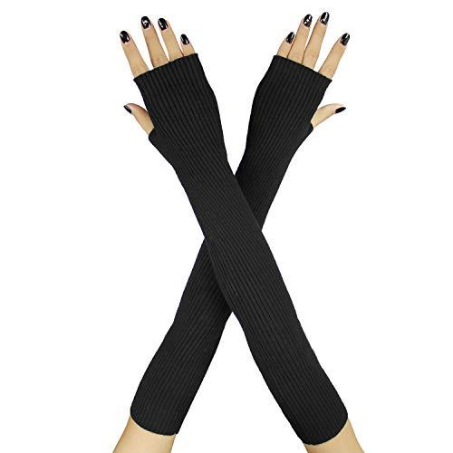 Arm Cashmere - Farlenoyar Women Knit Cashmere Soft Winter Warm Gloves Arm Warmer Long Fingerless Gloves (Black)