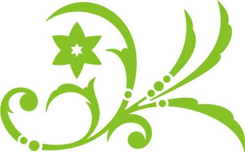WANDTATTOO / Wandaufkleber - e46 wunderschönes Tribal / Blätter / Blumen / Pflanzen Ranke 160x99 cm - gelbgrün