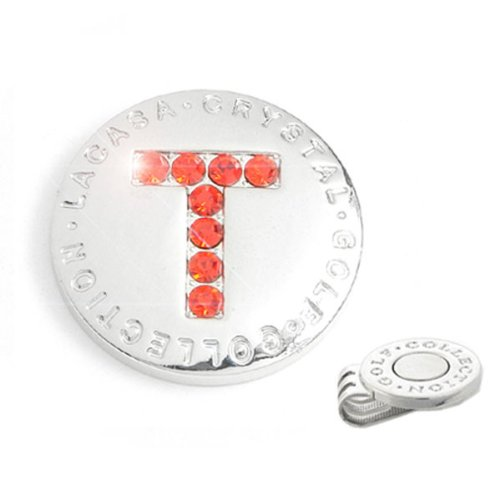 Elixir Golf Crystal Golf Ball Marker with Hat Clip, Initial T