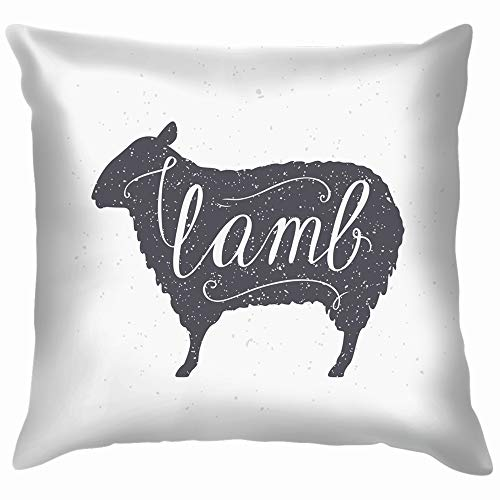 Hand Drawn Hipster Sheep Silhouette Lamb Animals Wildlife Food and Drink Soft Cotton Linen Cushion Cover Pillowcases Throw Pillow Decor Pillow Case Home Decor 26X26 Inch]()