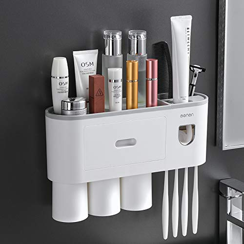 Multifunctional and innovative wall-mounted toothbrush holder, space-saving cosmetic storage box, bathroom automatic toothpaste dispenser, squeezer kit(3 cups) (gray)