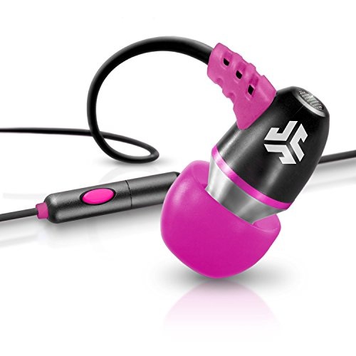 JLab Audio NEON Metal In-Ear Earbuds with Universal Mic for iPhone & Android, GUARANTEED FOR LIFE - Black/Pink
