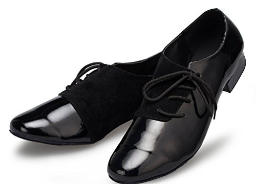 Abby YFYC-L149 Mens 1 Inch Professional Jazz Practice PU Dance Shoes Black zP02VkI