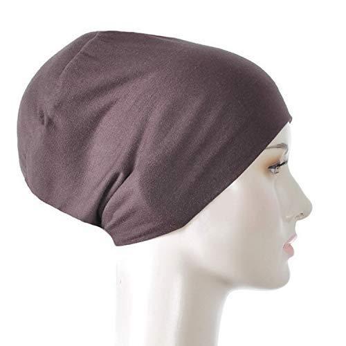 Silk Story Design Handmade Hijab Turban Bun Under Scarf Shawl Chemo Wear Volumizer Hair Loss Cover Cotton (Brown) ()