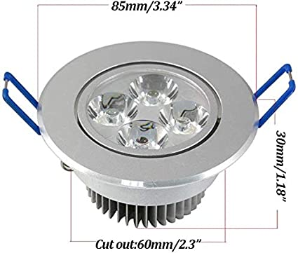 HNaGRDMMP LED Fire-Rated Downlight with Bulb 7W 4000k Beam Angle 38 deg.Twist/&Lock Quick Connect Black Housing Dia 85mm Color : 4pcs, Size : Warm Light