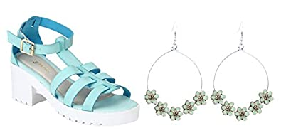 ac260b8ea17f64 Image Unavailable. Image not available for. Colour  Etashee Faux Leather  Block Heel Platform White Sole Strappy Blue Teal Gladiator Sandals for Women