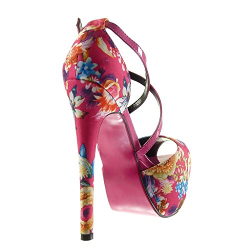 fiori alto sandali Angkorly CM sexy tanga Moda Tacco decollete Stiletto scarpe donna Fushia zeppe Scarpe stiletto 15 44CqzO