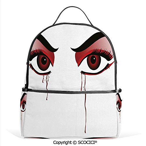 Hot Sale Backpack outdoor travel Red Eyes of a Woman Dropping Blood Tears Female Foe Threatening Look Danger Decorative,Black Red White,With Water Bottle Pockets