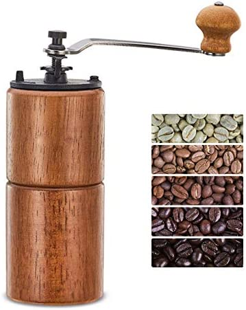 Fumao Hand Coffee Grinder Wooden Coffee Mill with Ceramic Burr, Large Capacity Dark Wood, Cast Iron Manual Crank, Portable Adjustable Dark wood