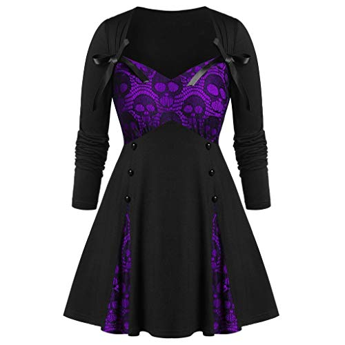 Xinantime Womens Halloween Dress Halloween Sweetheart Collar Skull Print Tunic Plus Size T Shirt Purple]()