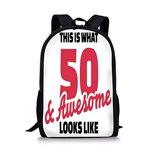 School Bags 50th Birthday Decorations,Fifty and Awesome Cool and Fun Hand Written Happy Slogan,Red Black White for Boys&Girls Mens Sport Daypack]()