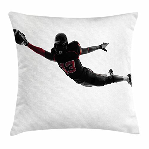 Touch Player Football (Lunarable Boy's Room Throw Pillow Cushion Cover, One American Football Player Leaping Scoring Touchdown in Silhouette Shadow, Decorative Square Accent Pillow Case, 16 X 16 Inches, Black Red White)