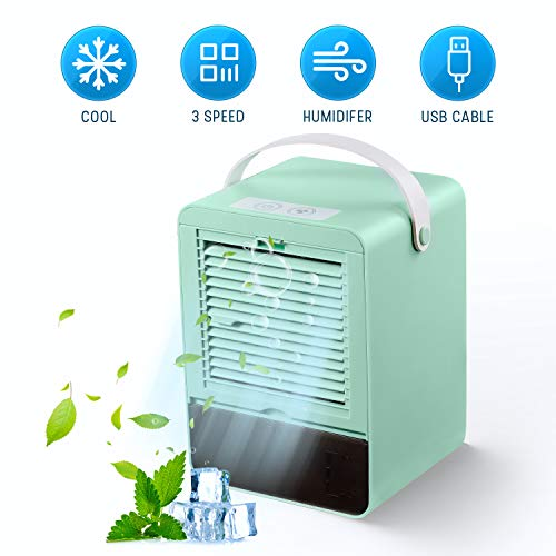 🥇 GHONLZIN Enfriador de Aire Silencioso Mini Air Cooler Humidificador con 3 Velocidades para Oficina en Casa