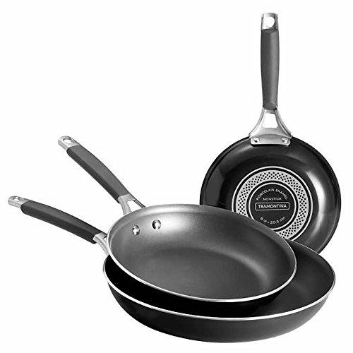 Enamel 8 Inch Saute Pan - Tramontina ~ Three Pieces Saute Pans, Black