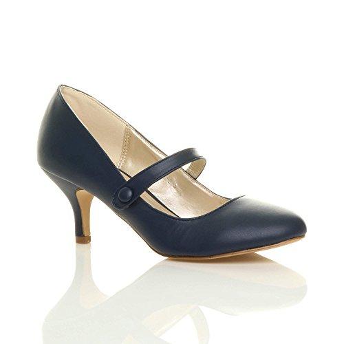 jane Scuro Blu di media festa taglia elegante mary Opaco tacco scarpe lavoro Donna moda qaZ4wn