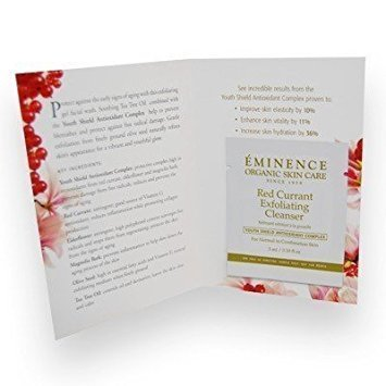 Eminence Red Currant Exfoliating Cleanser Card Sample Set of 6 Samples Travel Size 3 Ml Each