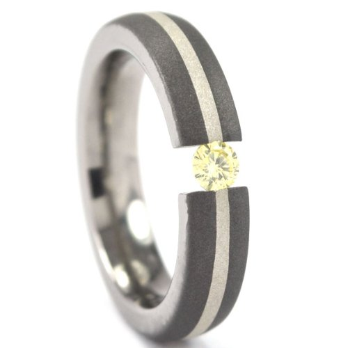 Titanium Tension Setting Ring with Sterling Silver Inlay, Sand - Tension Settings Titanium