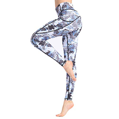Witkey Women Yoga Pants Printed Over The Heel Stirrup Yoga Leggings High Waist Power Flex Capris Leggings for Fitness Running