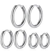 ChainsHouse Hypoallergenic Surgical Stainless Steel Hoop Earrings Set, 18K Gold/Black Metal Plate...