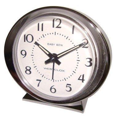 (Westclox Alarm Clock Beige Brushed Stainless Steel Case, Metal Bezel)