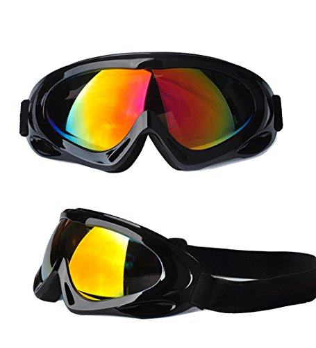 Feier Yusi Adult Professional Ski Goggles Snowmobile Snowboard Skate Snow Skiing Goggles with 100% UV400 Protection Bright lens TPC Frame Material Anti Sand Wind & UV Suitable Hiking Surfing - Heads Small Men Sunglasses For