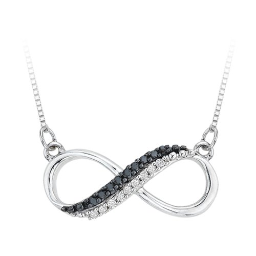 Two Row Infinity Black and White Diamond Pendant Necklace in Sterling Silver (1/20 cttw) by KATARINA