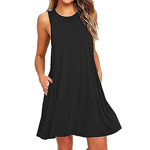 Sunyastor Women's Tunic Dress Short Sleeve Pleated Loose Swing Casual Dress with Pockets Knee Length (F Black, Small)