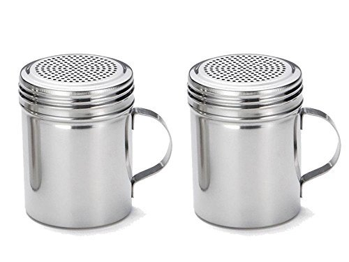 Great Credentials Stainless Steel Versatile Dredge Shaker, Salt, Sugar, Shakers 10 Oz. Each Set of 2 (With Handle) (Stove Top Salt And Pepper Shakers)